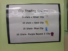 """Clip Trading System to go with 7 option Behavior Management Chart.  Students """"earned"""" new clips with fantastic behavior.  For each day that they ended up on the top of the chart, they earned a star on their clip.  After certain amounts of stars, they traded in their """"boring"""" clips for silver, gold, blue and purple clips.  Each time they retired an old clip, the class sang a special song or chart during morning meeting!"""