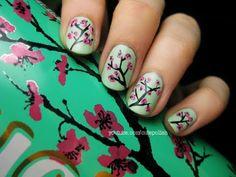 Arizona Green Tea Cherry Blossom Nails
