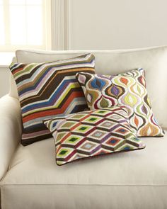 """Bargello"" Pillows by Jonathan Adler at Horchow."