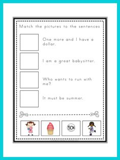 Read and match. Fun practice for young readers.