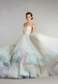 pastel, wedding dressses, bridal collection, ball gowns, color, spring summer, wedding blog, fall weddings, bride