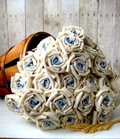 Burlap Rose - Fabric Rose with blue centers. Rustic Bouquet