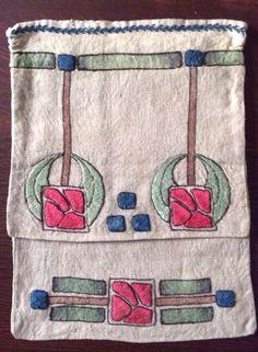 "Arts and Crafts Handbag. Embroidered Linen. America. Circa 1900-1910. 12"" x 9""."