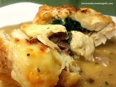 Chicken Saltimbocca...Chicken stuffed with spinach and proscuitto, topped with Mozzarella cheese, and served with an out-of-this-world sauce!