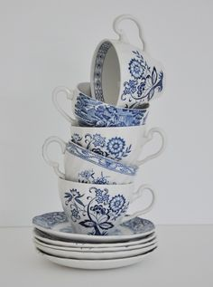 Vintage blue tea cups....love blue and white