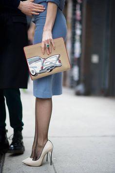fashion, purs, clutches, bag, heel, street styles, pump, shoe, ulyana sergeenko