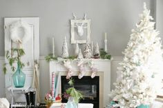 winter white mantel + tree