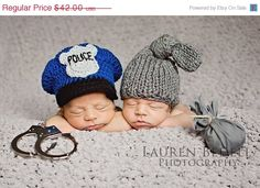 "WTF? If you were a mom of twins would you really want to label one kid ""the good one"" and the other ""the bad one""? Ugh. twin, police officer, halloween costumes, cop, photo props, newborn photos, baby costumes, baby hats, knit hats"