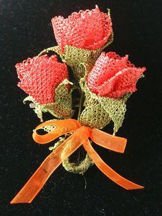 3 Roses Needlelace Brooch Pin Eyeglass Holder  ID by AlizeBorealis, $22.00