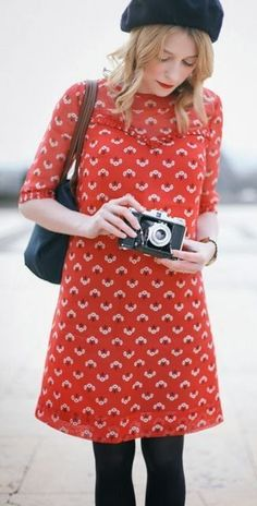 cute red dress, print dress, outfit, camera, tight