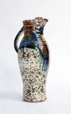 Chris Taylor Blue Pitcher. Terracotta with slip, underglaze print and lustre, 2012.