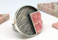 Rhodochrosite Angle and Silver Ring from Platinat