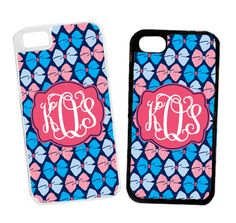 Monogrammed Navy Bows Cell Phone Case