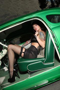 girl tattoos, classic cars, pin up tattoos, green cars, pinup, pin up models, hot rods, monica rene, pin up girls