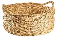 "Round Water Hyacinth Basket, Natural 19.7""L x 7.9""H ($58.00)  $29.00 OneKingsLane.com"