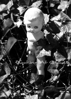 armless Ideal Doll funky black and white fine art photograph 5 x 7. Shop: LookingAtClouds