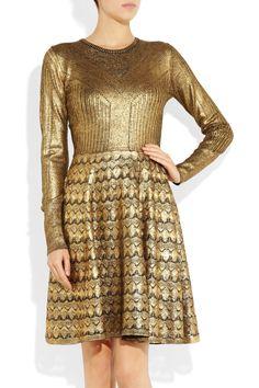 Judith metallic fine-knit wool dress