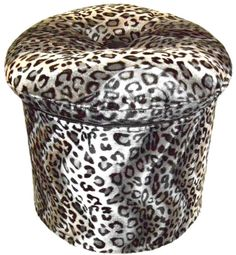 Snow Leopard Pillow Top Ottoman.  Exotic Animal Print Pillow Top Ottoman in a fabulous Faux Fur.  $220.00  SALE $200.00
