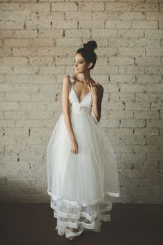 Deep V Neck Floor Length A Line Tiered Tulle Wedding Dress by ouma