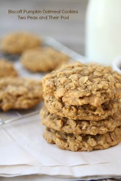 Biscoff Pumpkin Oatmeal Cookies from www.twopeasandtheirpod.com #recipe #cookie