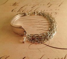 Art Nouveau Single Silver Spoon Bracelet with multi-strand chain and Swarovski Crystal