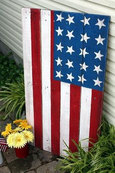american flag from old wood pallet