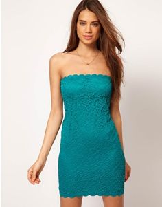 ASOS Bandeau Dress in Lace. In Green / Teal.