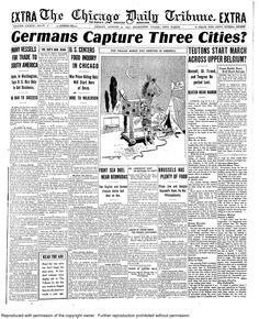 Aug. 14, 1914: Germans capture 3 cities.