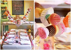 Cupcake liners + paper doilies + coffee filters = Pretty party garland!  Cupcake luv. http://letspartymagazine.com/kids/kids-crafts/bakery-party-cookies-milk/