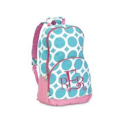 Monogrammed Quilted Backpack - Lots o Dots - Turquoise ($11.48)