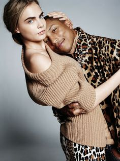 Cara Delevingne & Pharrell Williams by David Bailey for Vogue UK