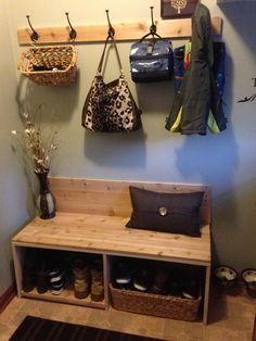 Diy mud room bench. Dad could make me this, add some patterned homemade cushions.