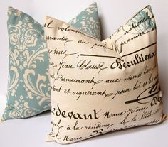 Decorative Throw Pillow Covers in Blue on Natural 18 x 18 Inches - Antique Script and Damask Blue Cushion Covers