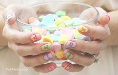 Valentine's Day Conversation Hearts Manicure #valentinesday #nails