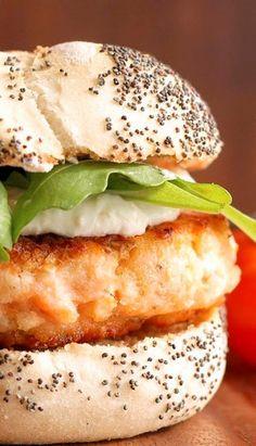 Salmon Burgers with Horseradish Cream. (Made with Greek yogurt.)