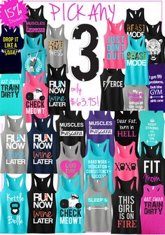 Tons of Cool colorful #Workout #Fitness Tank Tops by #NoBullWomanApparel. Pick Any 3 for only $63.95 on Etsy. Look good while at the #Gym, #Running or wherever! Click here to buy https://www.etsy.com/listing/166153381/3-workout-fitness-tank-tops-15-off?ref=shop_home_feat_4