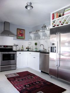 Pretty blue and white kitchen via Design*Sponge
