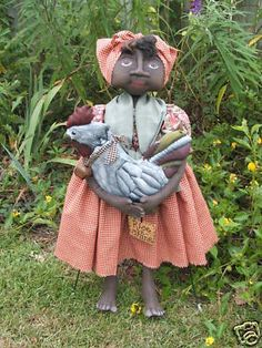 PRIMITIVE MAMMY DOLL WITH ROOSTER Special Order Purchase Buy it now feature
