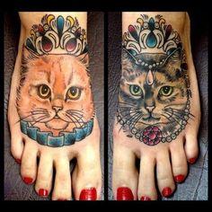 Supper cute queen king cat tattoo