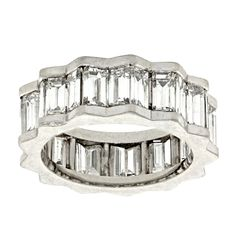 Modernist Diamond Band | From a unique collection of vintage band rings at http://www.1stdibs.com/jewelry/rings/band-rings/