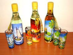 hand painted rum bottles