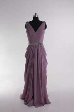 V-neck chiffon floor-length dress
