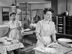 "Butterfly McQueen's first role would become her most identifiable —as Prissy, the young maid in Gone with the Wind, uttering the famous words: ""I don't know nothin' 'bout birthin' babies!"" Her distinctive, high-pitched voice also took people by surprise. She also played an uncredited bit part as a sales assistant in The Women* pictured here w/ Joan C*, filmed after Gone with the Wind but released before it. She also played Butterfly, Rochester's niece and Mary Livingstone's maid in the Jack Benny radio program, for a time during World War II."