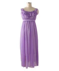 Bohemia Purple Chiffon Maxi Dress