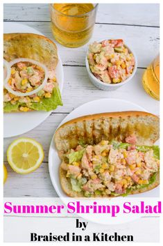 Summer Shrimp Salad by Braised in a Kitchen - delicious, quick, and easy, this summer shrimp salad makes for a perfect dinner! #summer #shrimp #salad #recipe #dinner #weeknight #sandwich #delicious