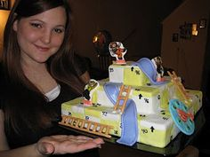 Chutes and Ladder Cake - snakes and ladders, game, games, boardgame, game board, cake decorating, artist, icing, fondant, children, play