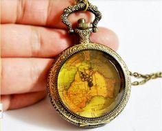 SALE -wholesale Brass Map Pocket Watch Pendant- World Map Large 80pcs on Etsy, $320.00