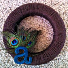 Peacock Feather Yarn Wreath with Monogram