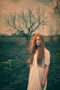 wind, art, redhead, portrait