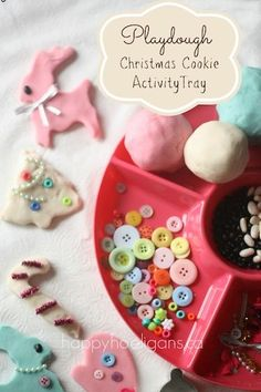 """Playdough Activity Tray:  """"Christmas Cookie"""" decoration station!  Such a hit with my daycare kids! (happy hooligans)"""